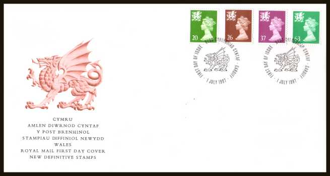 view larger back view image for WALES - 20p to 63p but WITHOUT 'P' on an unaddressed official Royal Mail FDC cancelled with a CARDIFF FDI cancel dated 1 JULY 1997