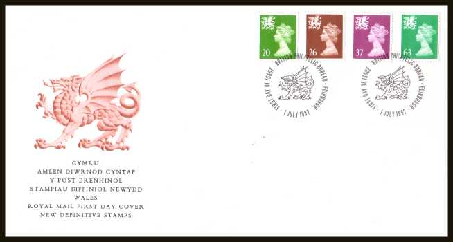 view larger back view image for WALES - 20p to 63p but WITHOUT 'P' on an unaddressed official Royal Mail FDC cancelled with a PHILATELIC BUREAU - EDINBURGH cancel dated 1 JULY 1997