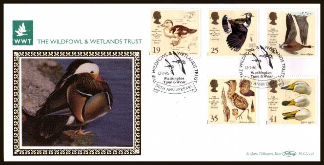 view larger back view image for Wildfowl and Wetlands Trust set of five on an unaddressed OFFICIAL WILFOWL & WETLANDS TRUST FDC cancelled with the alternative FDI cancel for WASHINGTON - TYNE & WEAR dated 12 MARCH 1996. BLCS114b numbered 2205 of 2500