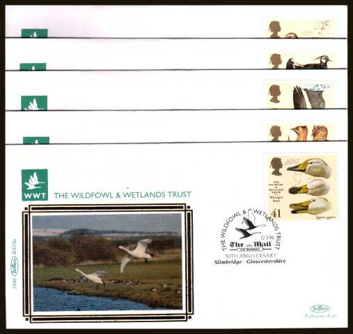 view larger back view image for Wildfowl and Wetlands Trust set of five on five different ''Benham Small Silk'' FDCs cancelled with various FDI cancels dated 12-3-96. Numbered BS15a-BS19a