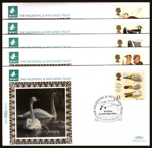 view larger back view image for .Wildfowl and Wetlands Trust set of five on five different ''Benham Small Silk'' FDCs cancelled with various FDI cancels dated 12-3-96. Numbered BS15-BS19
