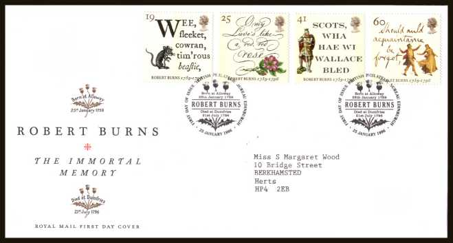 view larger back view image for Bicentenary of Robert Burns  set of four on a neatly typed addressed official Royal Mail FDC cancelled with the  FDI cancel for PHILATELIC BUREAU -  EDINBURGH dated 25 JANUARY 1996.