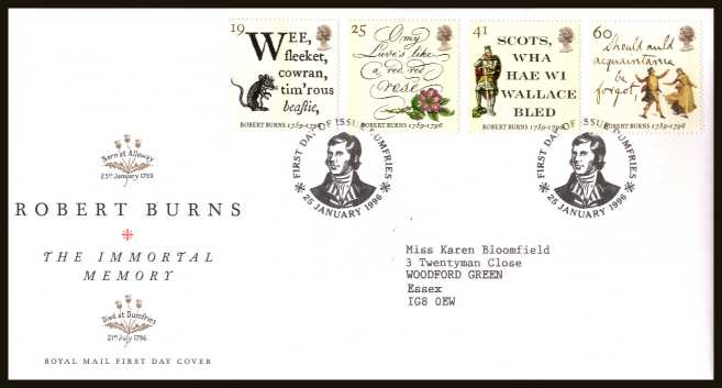 view larger back view image for Bicentenary of Robert Burns  set of four on a neatly typed addressed official Royal Mail FDC cancelled with the official alternative FDI cancel for  DUMFRIES dated 25 JANUARY 1996.