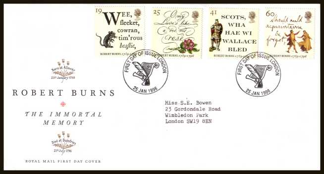 view larger back view image for Bicentenary of Robert Burns set of four on a neatly typed addressed official Royal Mail FDC cancelled with the a special FDI cancel for LONDON dated 25 JANUARY 1996.