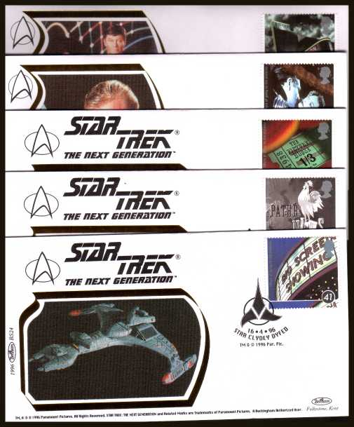 view larger back view image for Centenary of Cinema set of five on five different ''Benham Small Silk'' FDCs featuring ''STAR TREK'' cancelled with various FDI cancels dated 12-3-96. Numbered BS20-BS24