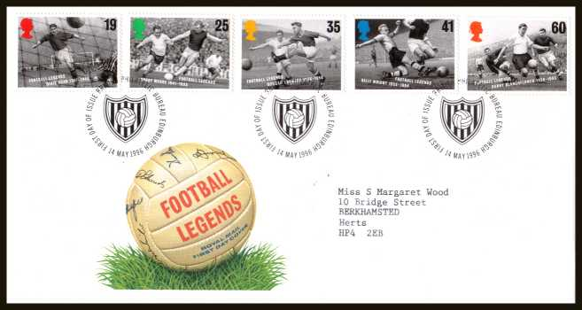 view larger back view image for European Football Championship set of five on a neatly typed addressed official Royal Mail FDC cancelled with the FDI cancel for PHILATELIC BUREAU - EDINBURGH dated 14 MAY 1996.