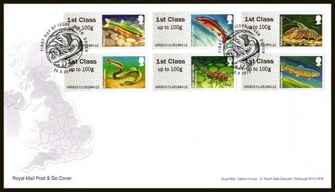 view larger back view image for ROYAL MAIL 'POST & GO' - Freshwater Life - Ponds - 3rd Series set of six on an unaddressed official Royal Mail FDC cancelled with the official alternative FDI cancel for RIVER - DOVER dated 20-9-2013