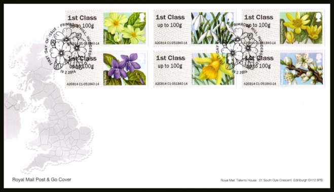 view larger back view image for ROYAL MAIL 'POST & GO' - BRITISH FLORA  - Spring Blooms - 1st Series set of six on an unaddressed official Royal Mail FDC cancelled with the official alternative FDI cancel for PRIMROSE HILL - HUDDERSFIELD dated 19-2-2014