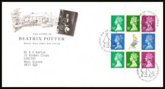 view larger back view image for Beatrix Potter Machin booklet pane on a neatly typed addressed official Royal Mail FDC cancelled with the alternative FDI cancel for KESWICK dated 10 AUGUST 1993.