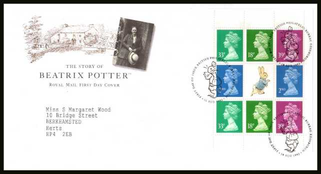 view larger back view image for Beatrix Potter Machin booklet pane on a neatly typed addressed official Royal Mail FDC cancelled with the PHILATELIC BUREAU FDI cancel dated 10 AUGUST 1993.
