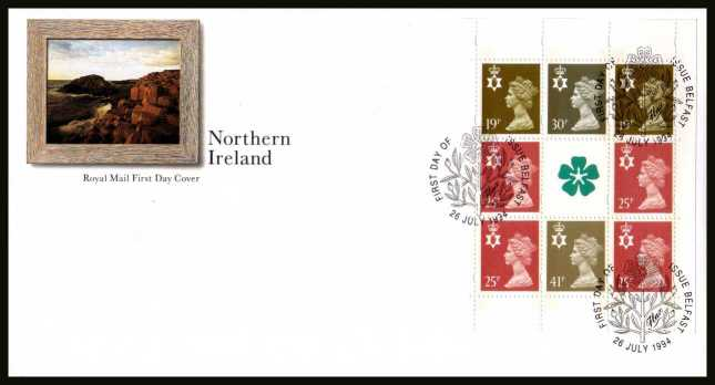 view larger back view image for Northern Ireland Machin booklet pane on an unaddressed official Royal Mail FDC cancelled with the alternative FDI cancel for BELFAST dated 26 JULY 1996.