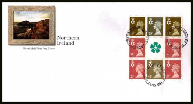 view larger back view image for Northern Ireland Machin booklet pane on an unaddressed official Royal Mail FDC cancelled with the alternative FDI cancel for LONDON SW dated 26 JULY 1996.