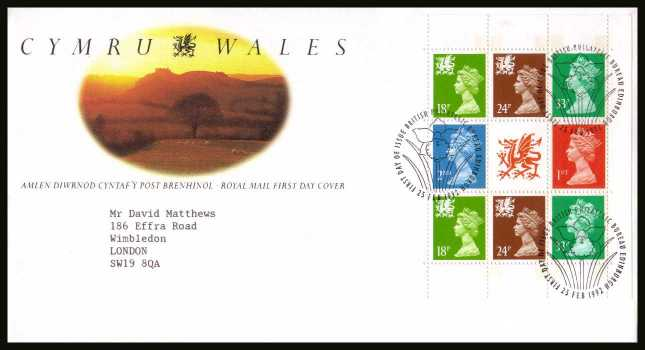 view larger back view image for Wales Machin booklet pane on a neatly typed addressed official Royal Mail FDC cancelled with the alternative FDI cancel for