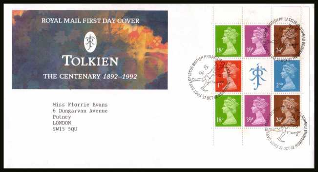 view larger back view image for Tolkien Machin booklet pane on a neatly typed addressed official Royal Mail FDC cancelled with the PHILATELIC BUREAU FDI cancel dated 27 OCT 1992.