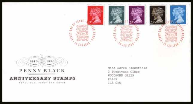 view larger back view image for 150th Anniversary of the Penny Black set of five on a neatly typed addressed Royal Mail FDC cancelled with the alternative FDI cancel for 