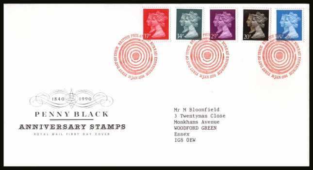 view larger back view image for 150th Anniversary of the Penny Black set of five on a neatly typed addressed Royal Mail FDC cancelled with the PHILATELIC BUREAU FDI cancel