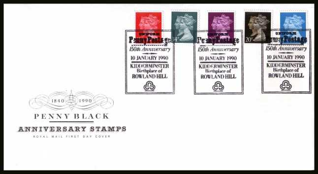 view larger back view image for 150th Anniversary of the Penny Black set of five on an unaddressed Royal Mail FDC cancelled with the special FDI cancel for KIDDERMINSTER