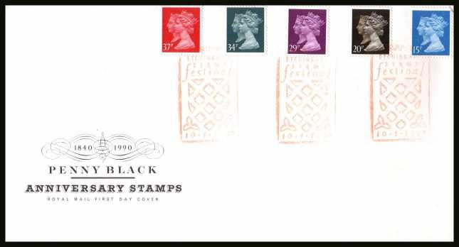view larger back view image for 150th Anniversary of the Penny Black set of five on an unaddressed Royal Mail FDC cancelled with the special FDI cancel for ETCHINGHAM STAMP FESTIVAL