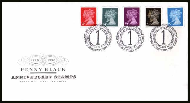 view larger back view image for 150th Anniversary of the Penny Black set of five on an unaddressed Royal Mail FDC cancelled with the special FDI cancel for BRITISH PHILATELIC FEDERATION - LONDON EC1
