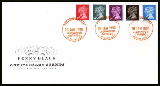 view larger back view image for 150th Anniversary of the Penny Black set of five on an unaddressed Royal Mail FDC cancelled with the special FDI cancel for CAERNARFON - GWYNEDD