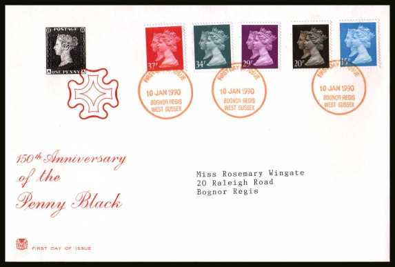 view larger back view image for 150th Anniversary of the Penny Black set of five on a neatly typed addressed STUART FDC cancelled with the FDI cancel for  BOGNOR REGIS