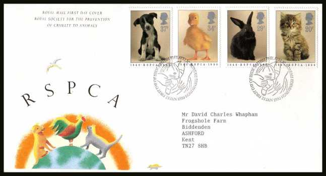 view larger back view image for 150th Anniversary of Royal Society for Prevention of Cruelty to Animals (RSPCA) on  a neatly typed addressed Royal Mail FDC cancelled with the PHILATELIC BUREAU FDI cancel dated 23 JANUARY 1990.