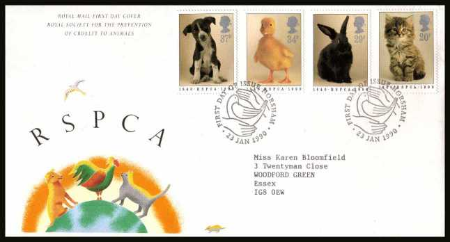 view larger back view image for 150th Anniversary of Royal Society for Prevention of Cruelty to Animals (RSPCA) on a neatly typed addressed Royal Mail FDC cancelled with the alternative FDI cancel for HORSHAM dated 23 JANUARY 1990.