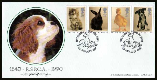 view larger back view image for 150th Anniversary of Royal Society for Prevention of Cruelty to Animals (RSPCA) on an unaddressed BRADBURY ''OFFICIAL'' FDC cancelled with the special FDI cancel LONDON SW8 dated 23 JANUARY 1990. L.F.D.C. no 84 Number 503 of 1000.