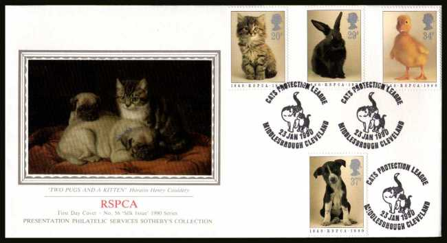 view larger back view image for 150th Anniversary of Royal Society for Prevention of Cruelty to Animals (RSPCA) on an unaddressed SOTHEBY'S - SILK (Number 56) FDC cancelled with CATS PROTECTION LEAGUE - MIDDLESBROUGH CLEVELAND handstamp 