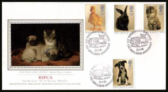 view larger back view image for 150th Anniversary of Royal Society for Prevention of Cruelty to Animals (RSPCA) on an unaddressed SOTHEBY'S - SILK (Number 56) FDC cancelled with CAT WORLD MAGAZINE - THE RSPCA 150TH ANNIVERSARY  handstamp 