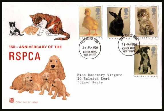view larger back view image for 150th Anniversary of Royal Society for Prevention of Cruelty to Animals (RSPCA) on a neatly typed addressed STUART FDC cancelled with FDI cancel for BOGNOR REGIS 