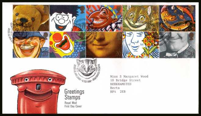 view larger back view image for Greetings Stamps ''Smiles'' pane of ten on a neatly typed addressed Royal Mail FDC cancelled with the PHILATELIC BUREAU FDI cancel dated 6 FEB 1990.