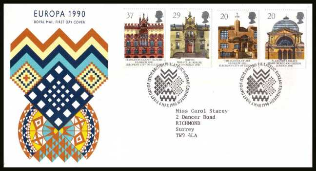 view larger back view image for EUROPA - Glasgow City of Culture set of four  on a neatly typed addressed Royal Mail FDC cancelled with the PHILATELIC BUREAU FDI cancel dated 6 MAR 1990.