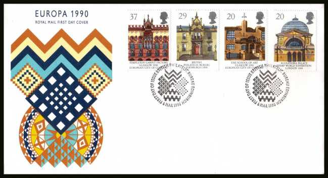view larger back view image for EUROPA - Glasgow City of Culture set of four  on an unaddressed Royal Mail FDC cancelled with the PHILATELIC BUREAU FDI cancel dated 6 MAR 1990.