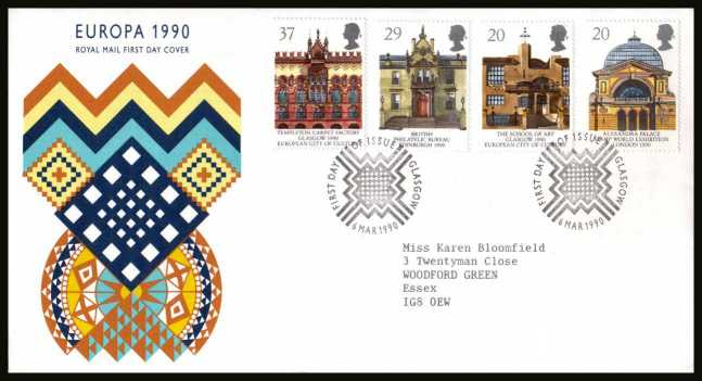 view larger back view image for EUROPA - Glasgow City of Culture set of four  on a neatly typed addressed Royal Mail FDC cancelled with the alternative FDI cancel for GLASGOW dated 6 MAR 1990.