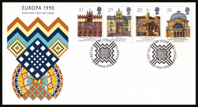 view larger back view image for EUROPA - Glasgow City of Culture set of four on an unaddressed Royal Mail FDC cancelled with the alternative FDI cancel for GLASGOW dated 6 MAR 1990.
