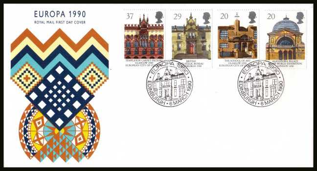 view larger back view image for EUROPA - Glasgow City of Culture set of four  on an unaddressed Royal Mail FDC cancelled with the special FDI cancel for EDINBURGH