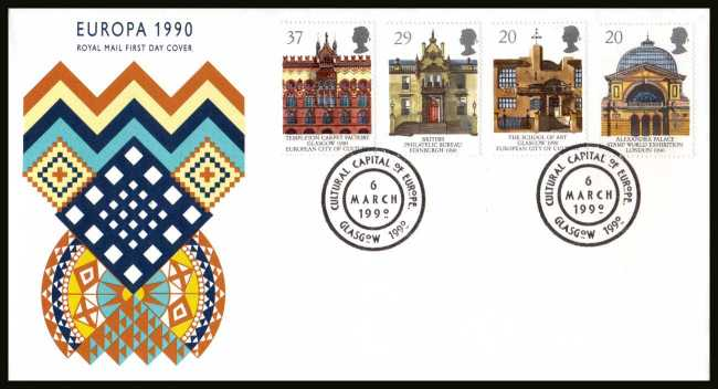 view larger back view image for EUROPA - Glasgow City of Culture set of four  on an unaddressed Royal Mail FDC cancelled with the special FDI cancel for CULTURAL CAPITAL OF EUROPE - GLASGOW