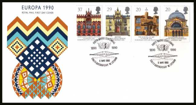 view larger back view image for EUROPA - Glasgow City of Culture set of four  on an unaddressed Royal Mail FDC cancelled with the special FDI cancel forFORTH BRIDGE CENTENNIAL - SOUTH QUEENSFERRY - W.LOTHIAN