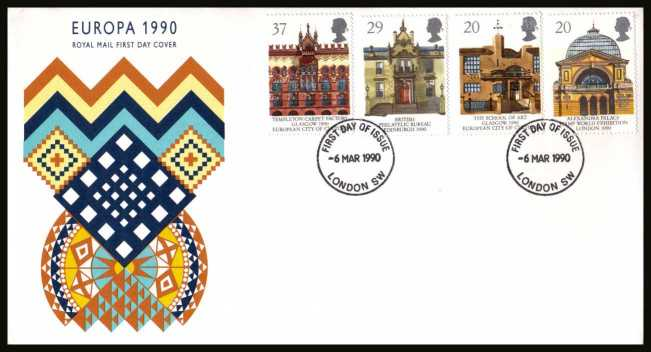 view larger back view image for EUROPA - Glasgow City of Culture set of four  on an unaddressed Royal Mail FDC cancelled with the FDI cancel for LONDON SW