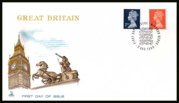 view larger back view image for 1st Class and 2nd Class - WALSALL - booklet singles set of two on an unaddressed MERCURY FDC cancelled with the alternative FDI cancel for WINDSOR - BERKS dated 7 AUG 1990