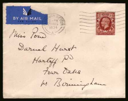 view larger back view image for 1�d Red-Brown Photogravure single on a complete AIRMAIL envelope to BIRMINGHAM cancelled with a PLYMOUTH - DEVON slogan dated 20 AUG 1934
