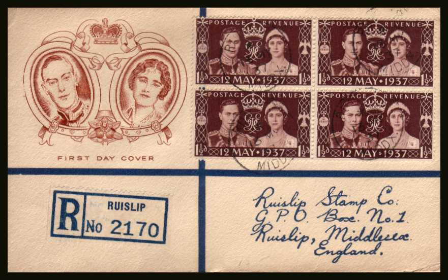 view larger back view image for Coronation single as a block of four on a bi-coloured REGISTERED illustrated envelope cancelled with four strikes of the RUISLIP - MIDDX CDS dated 13 MY 37 on the front and two on the back. Please note the address is actually printed on!