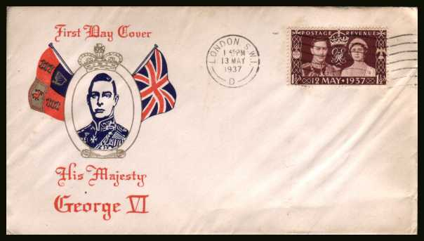 view larger back view image for Coronation single on an unaddressed colour cachet FDC crisply cancelled with a LONDON SW1 ''wavy line'' cancel dated 13 MAY 1937.
