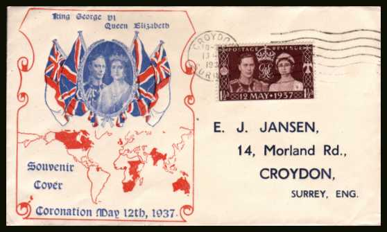 view larger back view image for Coronation single on a two colour illustrated cover with printed address cancell with a CROYDON - SURREY ''wavy line'' cancel dated 13 MAY 1937