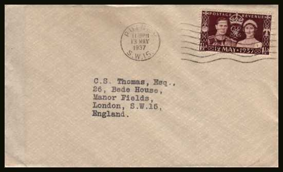 view larger back view image for Coronation single on a plain cover cancelled with a PUTNEY ''wavy lines'' cancel dated 13 MAY 1937