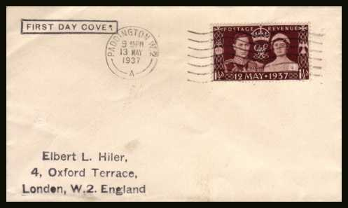 view larger back view image for Coronation single on a small plain envelope cancelled with a 