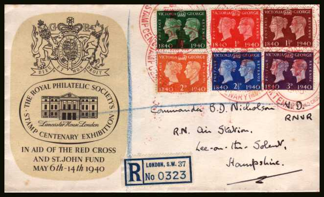 view larger back view image for Postage Stamp Centenary set of six on a REGISTERED ''ROYAL PHILATELIC SOCIETY - RED CROSS EXHIBITION'' cancelled with six strikes of the large red double ring cancel dated 6 MAY 1940. Scarce cover.