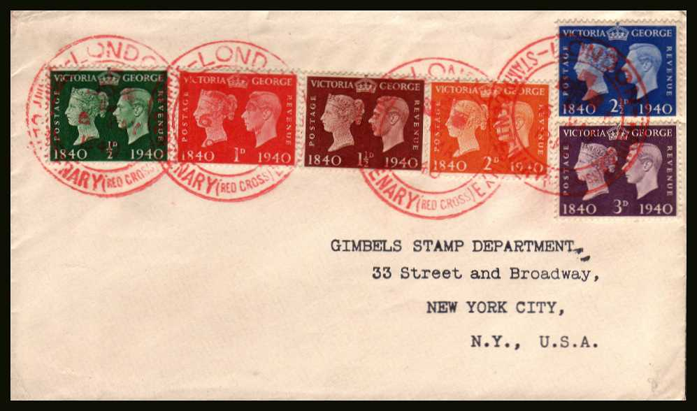 view larger back view image for Postage Stamp Centenary set of six on a plain cover to GIMBELS STAMP DEPARTMENT in NEW YORK CITY cancelled with four strikes of the famous RED CROSS cancel dated 6 MAY 1940