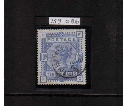 view larger image for SG 177 (1883) - 10/- Ultramarine lettered 'F-C' on BLUED PAPER cancelled with an EDINBURGH CDS. Royal Philatelic Society certificate stating 'genuine'. A couple of shortish perforations at top mentioned for accuracy. SG Cat �00+50%=�250